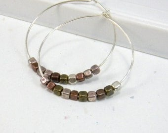 Sterling Silver Hoop Earrings Cube glass beads Two tone Silver Brass Copper Gold Womens Fashion Jewelry
