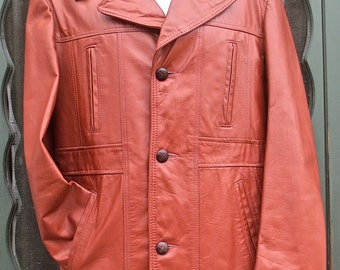RESERVED FOR BRIAN Vintage 1970's Russet Brown Leather Jacket w/Plaid Flannel Zip-in Liner  size 42