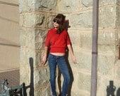 Vintage 50s Pin Up Lipstick Red Sweater Mad Men Rockabilly by Jantzen Viva Las Vegas