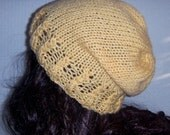 Wheat Yellow Hat, Knitted Hat, Slouchy Beanie, Knit Baggy Hat, Womans Accessories, Winter Hat
