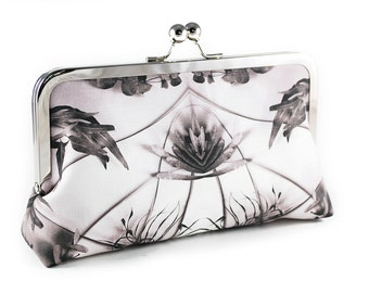 Clutch purse with banksia, gum and palm leaves
