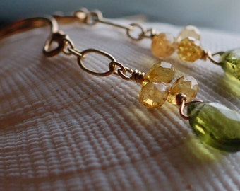 Vesuvianite and Yellow Sapphire Earrings - Gold Filled