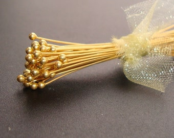 Bulk 100 pcs, 26 gauge ga g, 40mm, 1.5 inch, Bali 24K Vermeil Sterling Silver Handmade Ball End Headpins