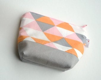 Organic Make up Pouch - Modern Geometric in Soft Gray, Orange, Pink and White