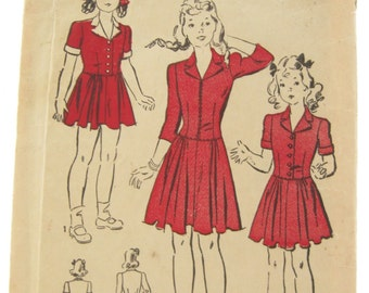 Advance 2879 Rare 1940s Girls Shirtwaist Dress Vintage Sewing Pattern Size 4