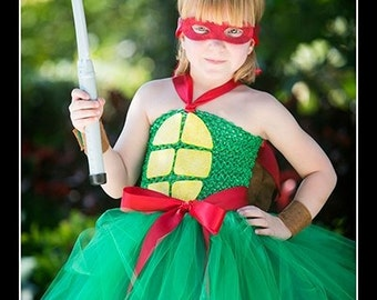 TURTLE POWER Crochet Tutu Dress with Turtle Shell, Wrist Cuffs and Mask - XL girls 7/8