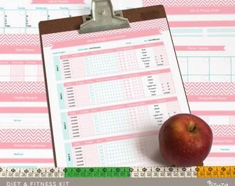 Diet Tracker & Fitness Planner Printable Kit, 11 Editable PDF Templates, Instant Download