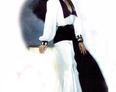 80s V Neck Diana Ross Collection Dress Pattern Simplicity 6203 Vintage Sewing Pattern Size 8 Bust 31 1/2 UNCUT FF