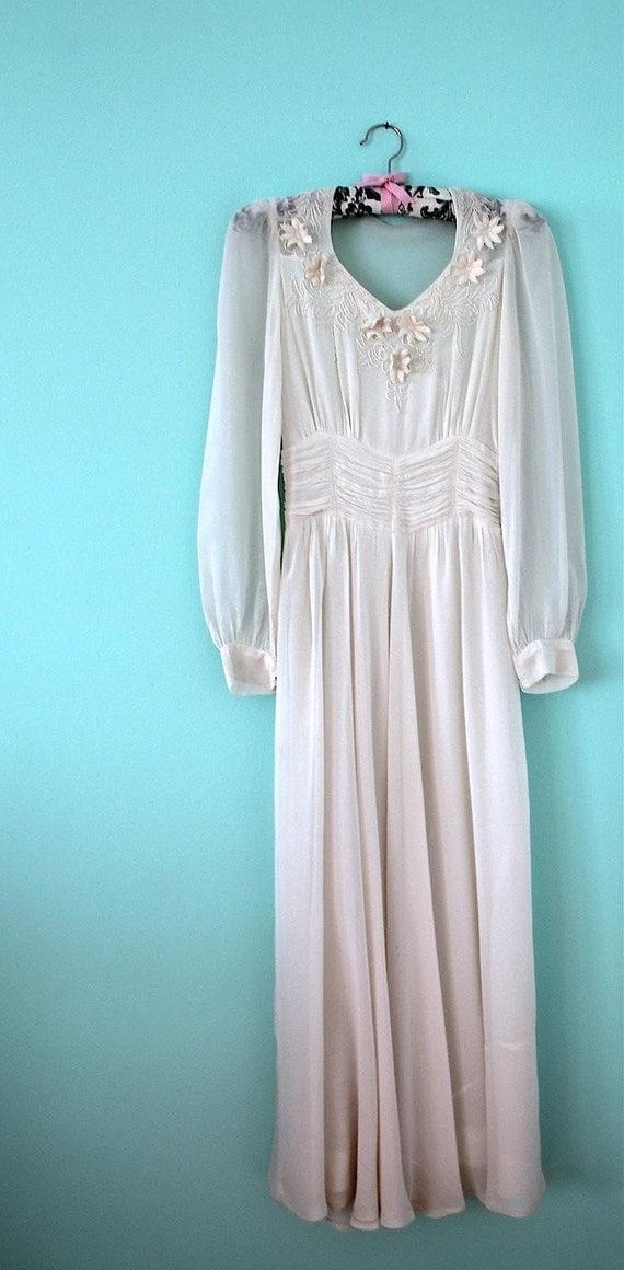 1940s Dress Silky Stars Vintage 40s Dress: 1930s 1940s Wedding Dress / Vintage White Silk By ThisBlueBird