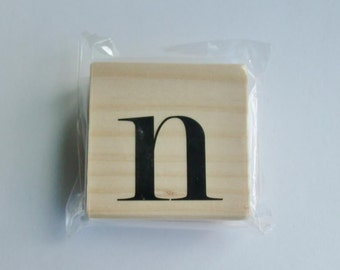 Lowercase N Rubber Stamp 2 1/2 inch stamp