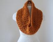 Pumpkin Spice Orange Lace Knit Infinity Scarf N040/41