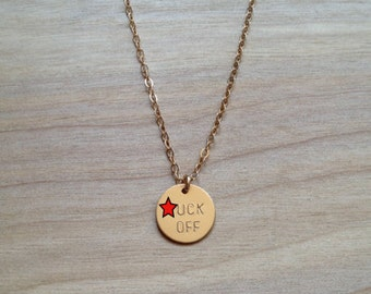 F.CK OFF Circle Charm Necklace - Gold