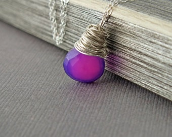 Purple Chalcedony Wrapped Necklace, Purple Stone Necklace, Purple Jewelry, Chalcedony Silver Necklace