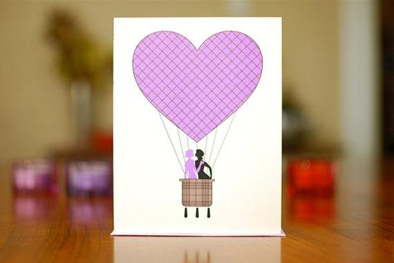 Purple Heart Hot Air Balloon w/ Lesbian Couple I Love You Card