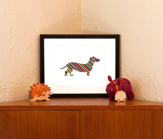 Hot Doggie - Striped Dachshund Art Print on 100% Recycled Paper (Free Shipping in US)