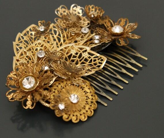 Inspiration is Gold. Rhinestone Bridal Hair Comb.