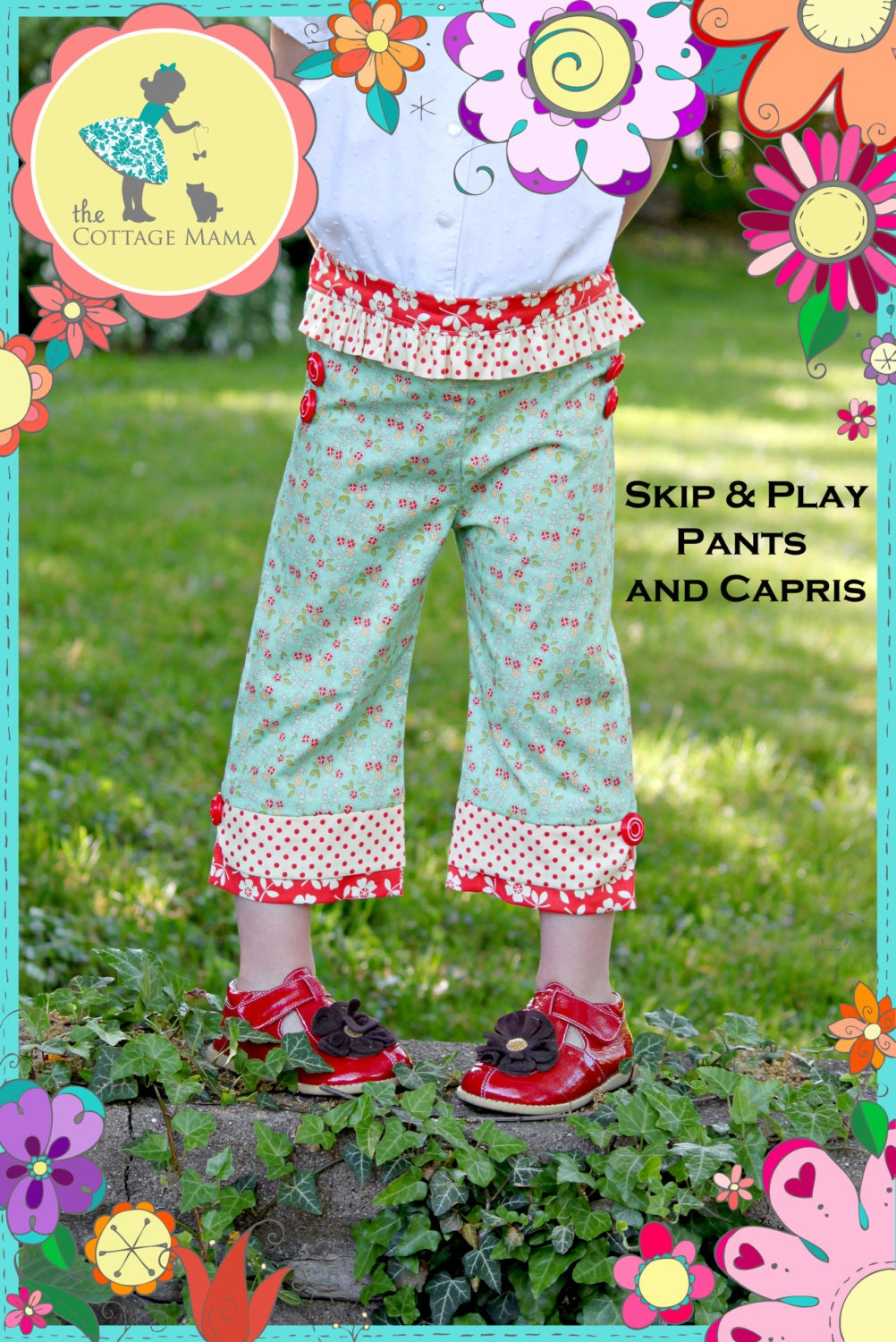 PDF Pants and Capri Pattern: Skip and Play Pants and Capris - Size 6 Month - 10 Years