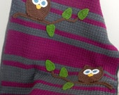 Owl Baby Blanket Girl Baby Shower Gift Ready to Ship