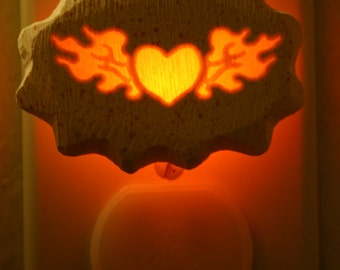 Flaming Heart    small 1/3 watt neonlithic night light