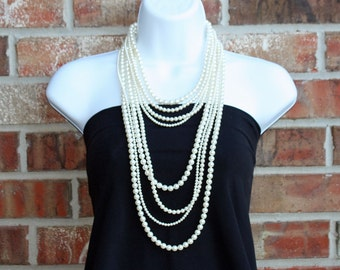 8 Strand Swarovski Pearl Necklace with Sterling Silver Findings, Layered, Long Pearl Necklace