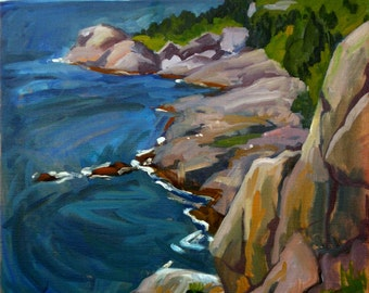 Monhegan Headlands, Maine. 20x20 Oil on Canvas, Plein Air Impressionist Seascape, Large Realist Oil Painting, Signed Original Fine Art