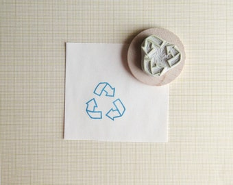 Recycle Symbol Hand Carved Rubber Stamp