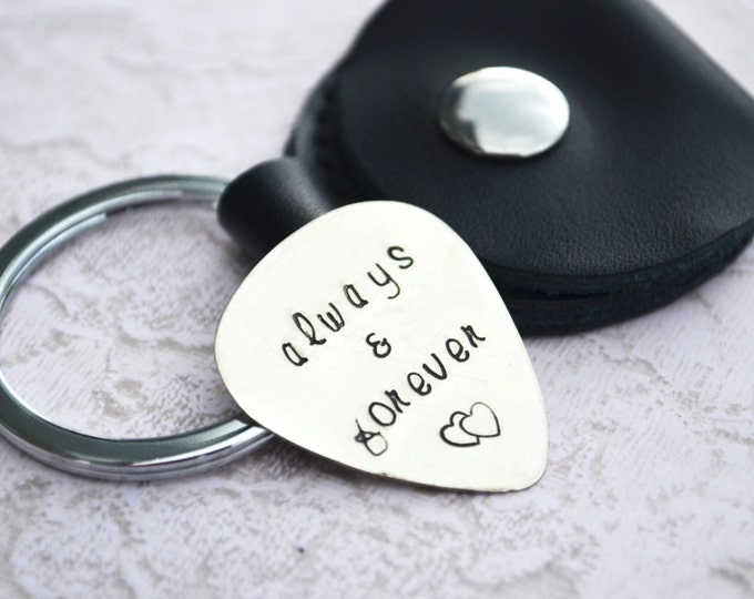 Guitar Pick Key Chain with Leather Case Hand Stamped Personalized Aluminum for Men Husband Son Father Dad Boyfriend Gift