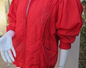 Vintage Avant Garde 80s Bright Red Slouchy Windbreaker Jacket with Quilting Dolman Sleeves Fab Period Details M L XL