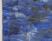The Moon Sets in a Stormy Sea (Abstract) - ACEO - Original Painting in Acrylic