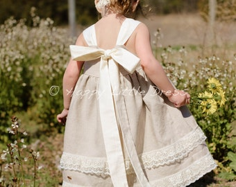 Rustic Flower Girl Dress. Linen Knot Dress for Girls.