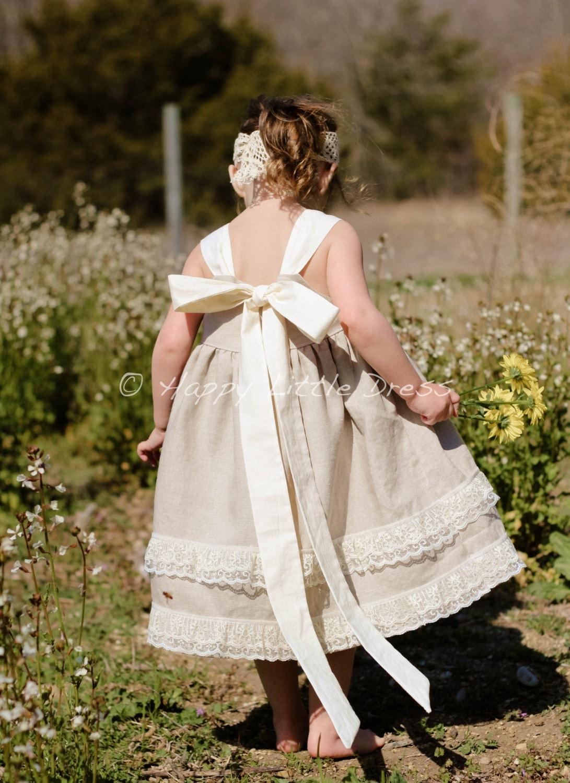 Rustic Flower Girl Dress Linen Knot Dress for Girls