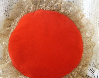 Vintage True Red Velveteen and Beige Lace Round Boudoir Pillow