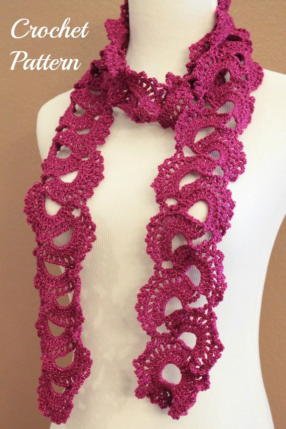 CROCHET PATTERN - Queen Annes Lace Scarf Pattern, Crochet Scarf ...