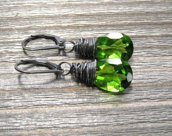 Peridot Quartz Earrings,  Green Dangle Earrings,  August Birthstone,  Sterling Silver,  Wire Wrapped
