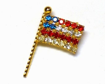 U.S.A. Flag Rhinestone Brooch in Prong Set Red, White & Blue Crystals in Gold Figural Design - Vintage 70s Patriotic Costume Jewelry