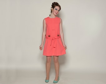 Vintage 1960s Mod Mini Dress - Coral Pink Autumn Haze Mink Trim - Spring Fashions