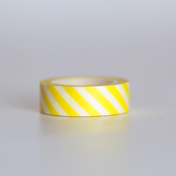 Banana Stripes Washi Tape-  Single Roll 10 m