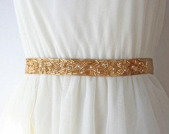 Gold Beaded Sash, Bridal Sash, Beaded Bridal Belt