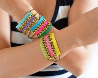 Neon Friendship Bracelet, Pink Bracelet, Green Bracelet, Yellow Bracelet, Leather Bracelet, Womens Cuff Bracelet, Chain Cuff, Chain Bracelet
