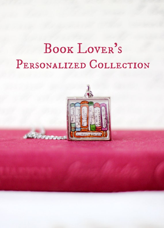 RESERVED - Book Lover's Personalized Necklace - HAND PAINTED
