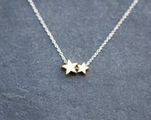 two stars love Necklace - Sterling Silver chain with two gold star charms