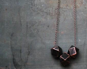 Black Copper Geometric Wood Necklace - Boho Necklace - Everyday