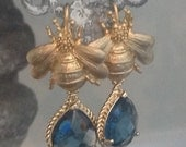 Abeille Chance - Lucky Bee Earrings - London Blue Sapphire Drops