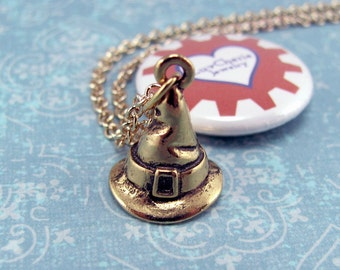 Gold Witch Hat Necklace - Harry Potter Necklace, Sorting Hat Necklace, Witch Necklace, Wizard, Halloween Necklace, Costume, Cosplay