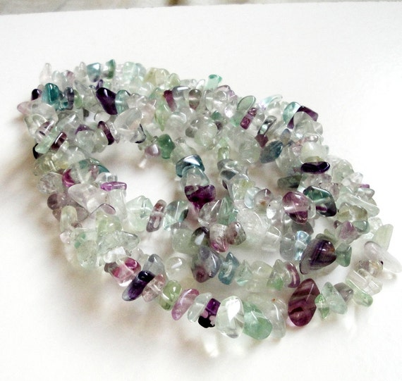 Rainbow Fluorite Chip Nugget Beads/ Long 36 Inch Strand