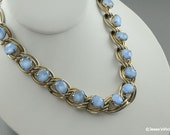 Vintage Necklace Moonstone Light Blue Choker Necklace