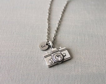 Antique Silver Camera Necklace. personalized initial necklace