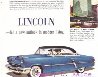Vintage Lincoln ad. 1952 print