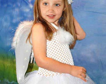 Angel Tutu Dress Costume with Wings and Halo  - Size 2T to Girls Size 6- Can Be Worn Different Ways
