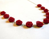 Mothers Day Jewelry - A Dozen Red Rose Link Necklace - Handmade Polymer Clay Flower Jewelry - Unique - Any Color - Gifts Under 20, 30